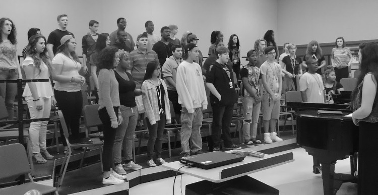Vocal students rehearsing for All-State auditions.   Taken by Amy Zapot