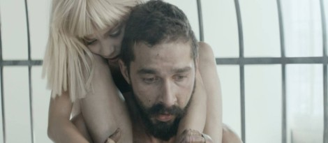 "Shia LaBeouf and Maddie Ziegler perform in the controversial ""Elastic Heart"" music video. (Image from RCA Records)"