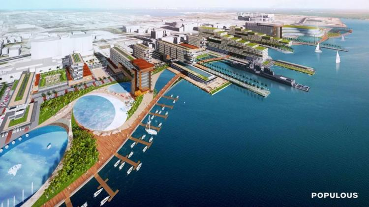Photo taken by: Populous  An aerial shot of Khan's proposed Shipyards.